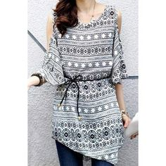 Women's Top - Printed Off The Shoulder Asymetrical Tunic