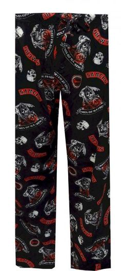 Sons Of Anarchy Lounge Pants   If you are a fan of the hit Fox show Sons Of Anarchy, these pants are perfect for relaxing on the couch and watching an episode. These lounge pants feature the Men Of Mayhem and Samcro logos. They are 100% cotton, machine wash. $18.50