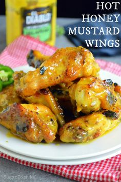 Hot Honey Mustard Wings - - Crispy grilled wings tossed in a sweet and spicy jalapeno mustard sauce. Perfect for cookouts and game days! Be sure to leave yourself an hour prior to cooking to let the wings soak in the buttermilk and honey. Honey Mustard Wings, Frango Chicken, Grilled Wings, Great Recipes, Favorite Recipes, Def Not, Chicken Wing Recipes, Recipe Chicken, Turkey Recipes