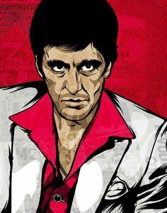 Al Pacino, Scarface Scarface Poster, Scarface Movie, Arte Dope, Caricatures, Rock Poster, Al Pacino, Hip Hop Art, Arte Horror, Airbrush Art