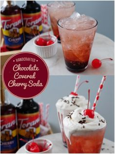 """Chocolate Covered Cherry Soda - the perfect way to tell your Valentine """"I Love You"""". For this Italian Soda, You'll need both Torani Chocolate & Cherry Syrups + Milk + Sparkling Water (or club soda) + Whipped Cream & a maraschino cherry to add that lovely """"cherry on top!"""""""