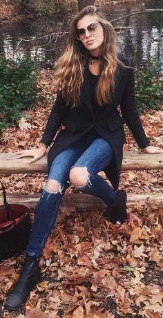Destroyed Skinny Jeans + Black Coat