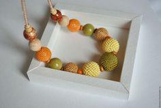 """Купить Бусы из бисера """"Осенний урожай"""" - оранжевый, желтый, Осенние цвета, осень, деревянные бусины"""