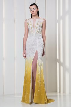 White degrading to amber yellow velvet dress, with a V-neckline and gold and white embroideries on the bodice.