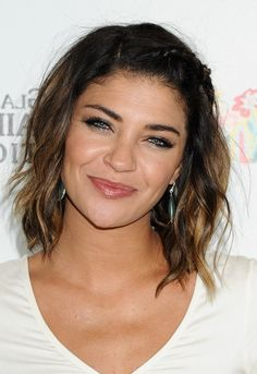 Jessica Szohr Cute Braided Mid Length Ombre Wavy Hairstyle for Heart Faces