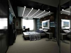 Modern Mens Bedroom simple modern bedroom for men with wooden bed and lighting