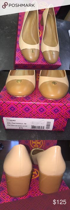 """Tory Burch Ethel Pump Tan/gold In excellent used condition. Upper is in excellent shape with some wear on soles, but heels have very little wear.  Chunky heel, height is 2.5"""".  Tan with darker tan and gold accents.  Original box included. Tory Burch Shoes Heels"""