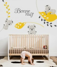 "haha...a little too much large panda goin on on the walls but i love the leaves and the ""Bonne Nuit"""