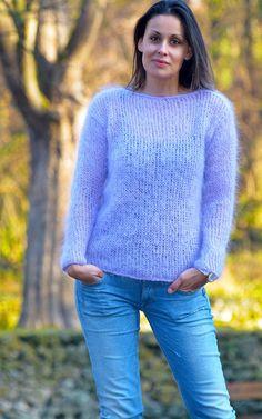 LILAC Hand Knitted MOHAIR Sweater Fuzzy Crew neck Spring Jumper EXTRAVAGANTZA #EXTRAVAGANTZA #Crewneck