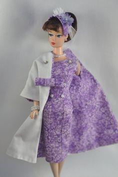 Handmade Vintage Barbie/Silkstone Clothes by P.Linden 11 pc purple floral outfit #FITSVINTAGEREPRODUCTIONSANDSILKSTONEBARBIE