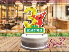 "2.5/""-5/"" Sesame street elmo 1st first birthday custom heat transfer iron on"