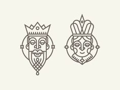 King&Queen designed by Andrei Bacter. Connect with them on Dribbble; the global community for designers and creative professionals. Line Design, Icon Design, Design Art, King Y Queen, King Queen Tattoo, King King, Line Illustration, Digital Illustration, Graphic Pattern