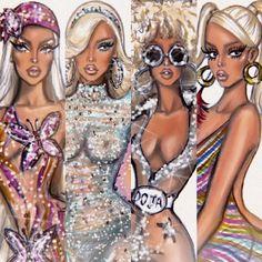 Hayden Williams Fashion Illustrations on Doja Cat Pink Tour, Fashion Sketches, Fashion Illustrations, Weird Sisters, Cat Body, Cat Aesthetic, Aesthetic Collage, Salsa Dress, Hayden Williams