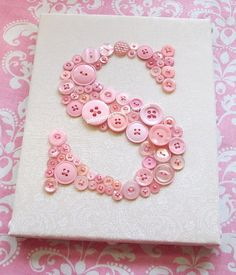 Nursery Art Canvas, Button Letter H, Personalized Baby Nursery Decor, Button Art, Toddler Gift, Kids Wall Art, Wall Canvas or Ready-to-Frame