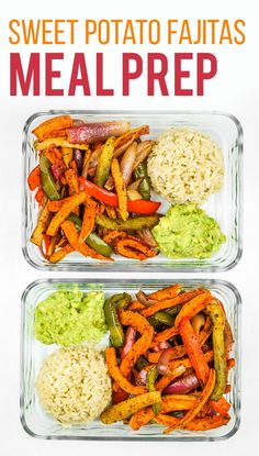 Sweet Potato Fajitas Meal Prep - This is the BEST sweet potato meal prep. Its so EASY! Veggies cook on a sheet pan and the rice gets done at the same time. Vegan meal prep idea. Meal prep for beginners. #vegan #mealprep
