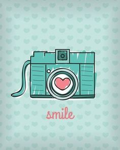 Smile wallpaper I wanna see you smile :) Cute Backgrounds, Cute Wallpapers, Art And Illustration, Camera Illustration, Photo Images, Poster S, Retro, Overlays, Iphone Wallpaper