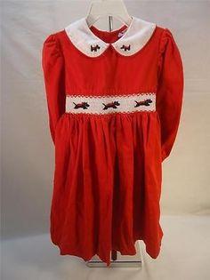Girls Red Corduroy Smocked Dress 4 Scottish Terrier Black Dog Christmas Holidays