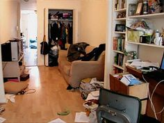 Messy apartment. Clean up your messy home