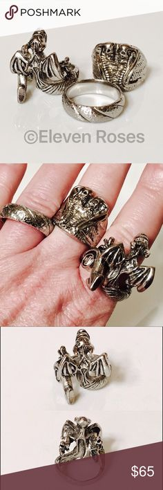 Lot of 3 Steel Fashion Skull Dragon Band Rings Lot of 3 Steel Fashion Rings - Skull/Snake , Dragon, Textured Band - Darkened Stainless Steel - Various Sizes As Shown - Preowned / Preloved  💕 May Show Slight Signs Of Having Been Worn.   📷  Listing Images Are Of Actual Item Being Offered Fashion Jewelry Accessories Jewelry