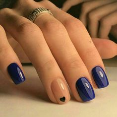 Beautiful summer nail art designs to try this summer 2017 Beautiful Navy Blue nails with tiny Heart shape. pink nail polish on rounded shaped nail.Beautiful Navy Blue nails with tiny Heart shape. pink nail polish on rounded shaped nail. Navy Blue Nails, Pink Nail, Beige Nails, Navy Pink, Nail Art Blue, Nail Nail, Purple Nails, Blue Art, Pink Pedicure