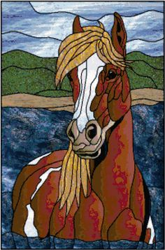 Stained Glass Chincoteague Pony Counted Cross Stitch Pattern $9.95 www.TheStitchersArt.com/2160-Stained-Glass-Chincoteague-Mare.html
