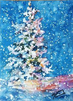"Daily Paintworks - ""Blue Christmas"" - Original Fine Art for Sale - © Sue Dion"