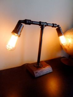 $150 handmade Industrial Style Galvanized Pipe Desk lamp with Vintage Style lightbulbs