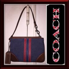 """Coach Denim Red & Blue Stripe Leather Wristlet Bag Coach Denim, Red, Blue & Brown Leather Wristlet Bag! Features: blue denim canvas, red & blue leather striped design, brown leather trim & wristlet strap, dog-leash attachment, top zipper closure, silver tone hardware & red """"CC"""" satin lining. Measures 5 3/4"""" x 4"""" x 1/4"""" with Coach brown leather hang tag. Great to use as a wristlet purse, cosmetic bag or attach inside your bag. Minor wear with nice light distressed look. VG condition. Offers…"""