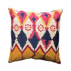 Ikat Watercolor Embroidery Pillow   dotandbo.com