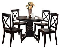 Home Styles 5 Piece Dining Set  Black  Includes a Sturdy Pedestal Style Table and 4 Cross Back Chairs -- Visit the image link more details. Note:It is affiliate link to Amazon.