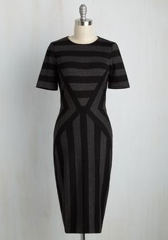 My Line of York Sheath Dress. Your career path has guided you to a new locale in England, and you opt to flaunt this striped dress for your first day on the job! #grey #modcloth