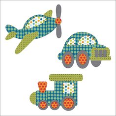 (7) Name: 'Quilting : Applique Add On - Plane,Train & Auto Set