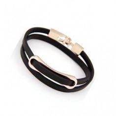 New Arrival Simple Buckle Double Layers PU Bracelet Black pas cher