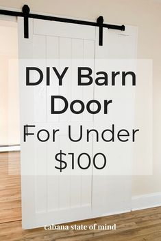 This DIY barn door is easy and cheap! See how I replaced the sliding door in my guest room and turned it into a rustic barn door. Home Improvement Projects, Home Projects, Bedroom Barn Door, Diy Bedroom, Diy Interior Barn Door, Budget Bedroom, Diy Sliding Barn Door, Diy Barn Door Plans, Barn Door Pantry