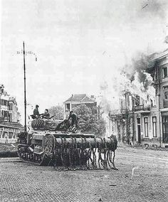 Sherman Flail Tank Moves Up Through The Blazing Town Arnhem 1945 Funny Tanks, Sherman Tank, Armored Vehicles, World War Two, Great Britain, Wwii, Germany, Military, Ww2 Tanks