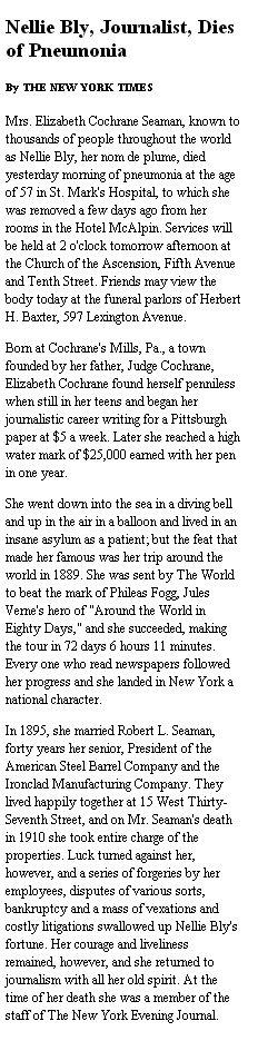 Nellie Bly's obituary