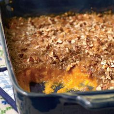 Try this light sweet potato casserole recipe. Whip sweet potatoes and top with a buttery brown sugar and pecan mixture. Watch the video to learn how to put together this lightened-up take on sweet potato casserole. Whipped Sweet Potatoes, Sweet Potato Pecan, Sweet Potato Casserole, Sweet Potato Recipes, Potato Cassarole, Yam Casserole, Pumpkin Casserole, Cauliflower Casserole, Breakfast Casserole