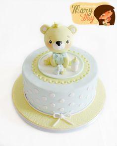 Maryway Ilustratartas Torta Baby Shower, Baby Shower Sweets, Baby Shower Cakes For Boys, Baby Boy Cakes, Fondant Baby, Fondant Cakes, Fancy Cakes, Mini Cakes, Cupcakes