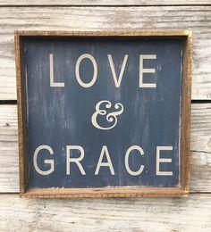 Love & Grace Wood Sign 12 x 12