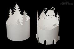"""Lanterns - Bastelbogen Lanterns »mountain village"""" - a designer piece of Miss Kitty's at about"""