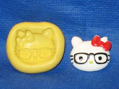 Cat Kitty Glasses Character Silicone Push Mold Resin Clay Candy #418 Fondant  #LobsterTailMolds