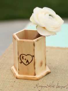 Personalized Rustic Guest Book Wood Pen Holder by braggingbags, $12.50