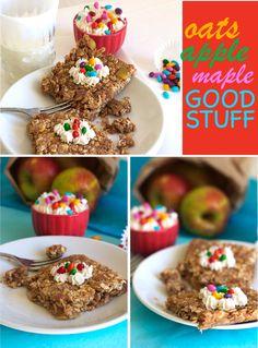 Maple Apple Pie Oat Bars family via FamilyFreshCookin. Best Healthy Recipe Books, Healthy Breakfast Recipes, Healthy Baking, Real Food Recipes, Healthy Snacks, Snack Recipes, Healthy Recipes, Apple Pie Bars, Oat Bars