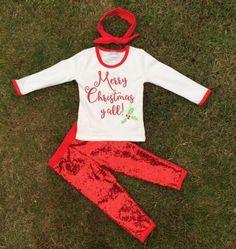 """MERRY CHRISTMAS YA'LL"" Girls 1-2T Sequin Pant Set  #Everyday"