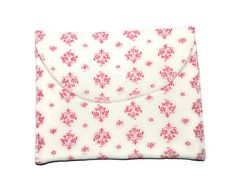 White velour wet bag with pink pattern  pad wrapper  by leonorafi