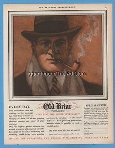 1928 United States Tobacco Co Richmond VA Old Briar pipe man smoking  art ad