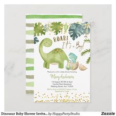Dinosaur Baby Shower Invite Roar Baby Shower Invitation Cards, Baby Shower Invitations For Boys, Invite, Happy Party, Couple Shower, Baby Elephant, Baby Boy Shower, Shower Ideas, Dinosaur Invitations