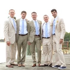 Handsome taupe and beige suits.   Photo by Aaron Snow Photography.  #wedding #grooms