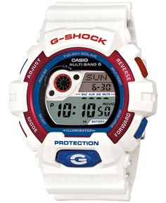 G-Shock Men's Digital Red White and Blue Strap Watch 55×52×16mm GW8900TR-7