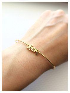 Custom name bracelet! Tom Design can put just about anything on a necklace or bracelet www.tomdesign.etsy.com